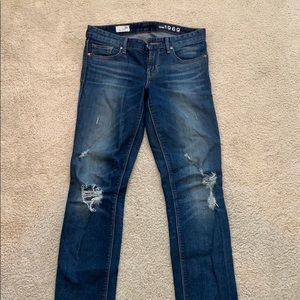 Gap distressed real straight jeans